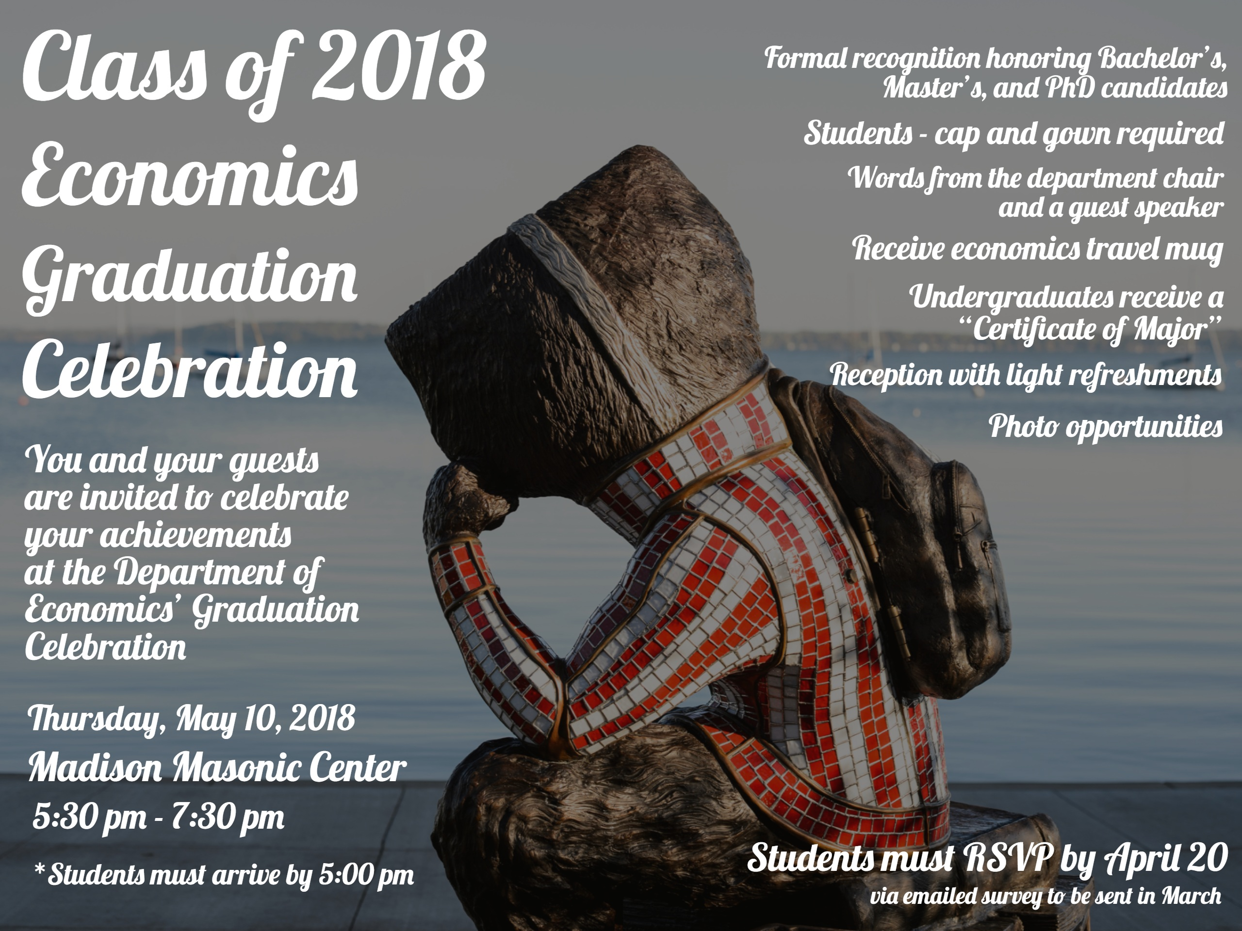 Graduation 2018 department of economics uwmadison students will receive an invitation via email the first week of april and should rsvp through the survey included in the invitation 1betcityfo Image collections
